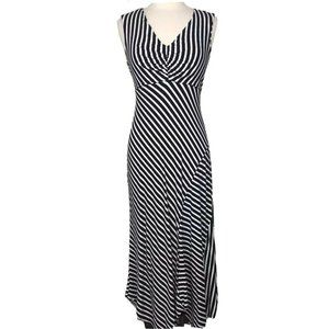 Chicos Striped Spencer Maxi Dress Size 2 Large